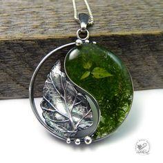 FREE SHIPPING, Yin Yang Jewelry, Yin Yang Necklace, Metal Clay , Silver Yin Yang, Yin Yang Pendant, Metalwork, Natural Moss, Silver Leaf