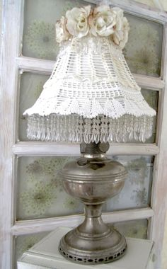 repurposed vintage oil lamp. Crochet shade. Framed queen anne's lace.