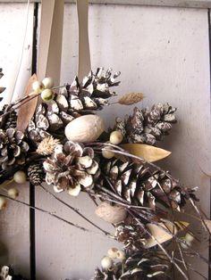 Holiday Wreath - Christmas Wreaths - Winter Decor - Scandinavian Decor - Pine Cones - Natural. $64.00, via Etsy.