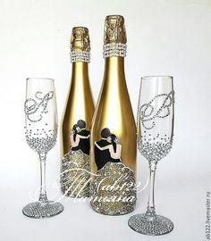 Купить Свадебный набор золото и стразы - золотой, свадебное шампанское, свадебные бокалы, бокалы для молодоженов