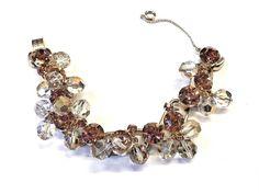 Juliana D & E Deep Topaz Rhinestone Clear Crystal Cha Cha Bracelet Verified #Juliana #Statement