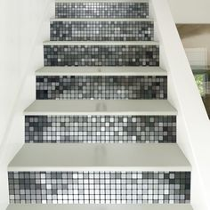 silver mosaic style stair sticker wall decor mix color 18 x 100cm x 6 pieces - Diy Entfernbarer Backsplash