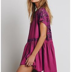 Free People Ayu Dress, backless crochet tunic Gorgeous dress from free people, worn once. Size XS but could fit a small or medium as well. Amazing back and cute tassel tie- perfect condition! Free People Dresses Backless