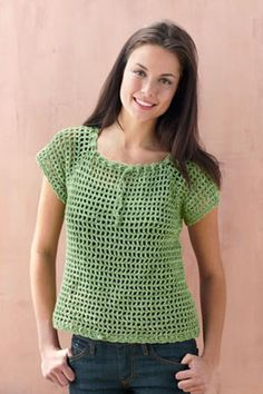 Crochet Shirt Mesh Raglan Pullover (Crochet) - Lion Brand Yarn - This airy lace top is created with a mesh stitch pattern.Finished Chest 33 ½ , 42 ½ , 45 ½ ) in. cm) Finished Length 22 ½ 24 ½ , in. Mode Crochet, Crochet Lion, Crochet Woman, Knit Crochet, Crochet Gifts, Crochet Shirt, Crochet Jacket, Crochet Cardigan, Crochet Sweaters