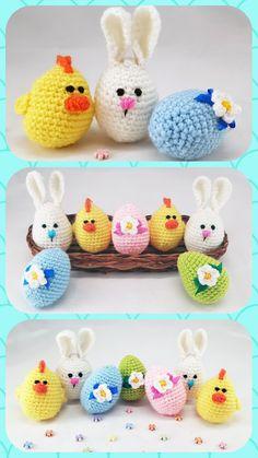 Easter stuffers Easter eggs Crochet eggs Easter gifts Bunny eggs Chick egg Crochet easter Cozy Easter decorations small gift Easter gift set