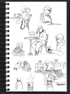 Sketching in a coffee shop