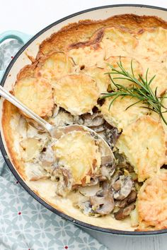 Mushroom & Potato Gratin [vegetarian]  | Bubbling with cheese and cream, this Mushroom & Potato Gratin is the ultimate comfort food. Potato gratin is a classic in French cuisine and here I have added some mushrooms for an autumnal twist as well as warming hints of rosemary and nutmeg. @theflexitarian