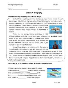 This lesson is adjusted to fourth grade reading levels. The theme for this lesson is a biography and the topic is Michael Phelps. Students are encouraged to take note of facts and information as they read.