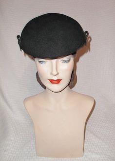 1940s Vintage Black Felt Tilt Hat with Black by MyVintageHatShop