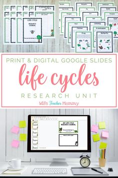This life cycle research unit includes research journals, instructions for a report, parent letters, student worksheets, & more! Printable & digital Google Slides versions are included in this bundle! Mini lessons & activities are included for teaching students to analyze informational texts, study text features, & conduct credible internet research. Research topics include butterfly, frog, chicken, sunflower, bee, ladybug, pumpkin, ant, & more! Perfect for distance learning…