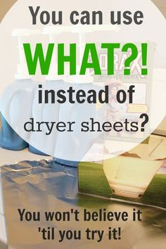A quick tip for replacing your dryer sheets with this everyday kitchen item. Tin foil / aluminum foil instead of dryer sheets. It supposedly lasts up to a year! Cleaners Homemade, Diy Cleaners, Cleaning Solutions, Cleaning Hacks, Cleaning Supplies, Cleaning Schedules, Weekly Cleaning, Cleaning Recipes, Grand Menage