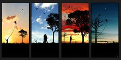 JASMINE: This series of imagery tells the story of life, death and relationships through silhouettes. The background not only communicates the mood of the story, but the element of time moving forward, dusk till dawn. The growth of the trees where one is eventually cut down is symbolic of the couples relationship, and the beginnings of a new life. All elements help depict a narrative sequence through the growth and death of familiar shapes.