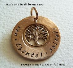 Personalised copper bronze and sterling silver keyring stamped personalised tree of life name pendant in bronze customised pendant only perth western australia aloadofball Images
