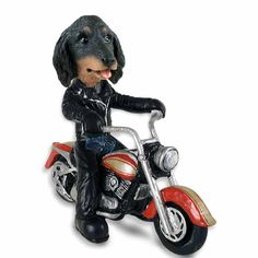 Dachshund Longhaired Black  Motorcycle Doogie Collectable Figurine