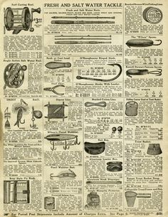 vintage fishing tackle, old catalogue page, fishing clip art, junk journal print… – Printable - Paper Vintage Newspaper, Vintage Paper, Vintage Labels, Vintage Ephemera, Vintage Ads, Vintage Pictures, Vintage Images, Junk Journal, Bullet Journal
