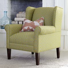 Bassett Furniture Georgia Accent chair is available at Jacobs Upholstery. Transitional wing chair that features a moderate scale sock arm, tight back and seat, and tall tapered legs standard in a Walnut finish. You can also choose from 11 other finishes for an additional charge.