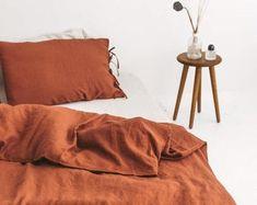 Orange duvet cover king   Etsy Orange Duvet Covers, 100 Cotton Duvet Covers, Best Duvet Covers, Comforter Cover, Duvet Cover Sizes, Silk Bed Sheets, Silk Bedding, Cotton Bedding Sets, Linen Duvet