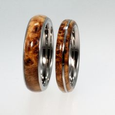 Titanium Ring Set with Black Ash Burl Wood Inlay by jewelrybyjohan, $359.00