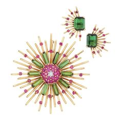 Lot 236 - Retro Gold, Diamond, Ruby and Tourmaline Brooch and Pair of Earclips