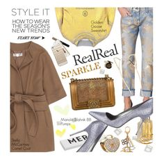"""""""Holiday Sparkle With The RealReal"""" by malussieversii ❤ liked on Polyvore featuring 7 For All Mankind, Chanel, Golden Goose, STELLA McCARTNEY, Louis Vuitton, Skinnydip, Rosanna, Manolo Blahnik, Cara and Pandora"""