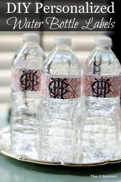 DIY Personalized Water Bottles.  Love this post about an easy way to update water bottles for your guest.