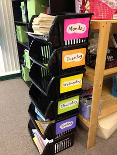 Organization Ideas for Back-to-School- Everything for the week in one easy to access location