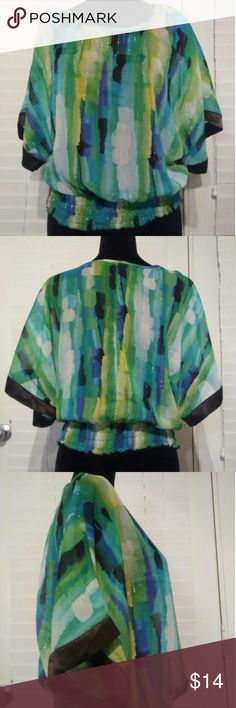 BCX Sheer Blouse Size Small BCX Sheer Blouse  Colors: blue, green, yellow, white with metallic threads throughout  Size: Small  Measurements:  Length: 21 inches Chest: 18 inches  Sleeves: Batwing  This beautiful sheer blouse is perfect for the summertime. It has been gently used with no noted damage or stains. BCX Tops Blouses