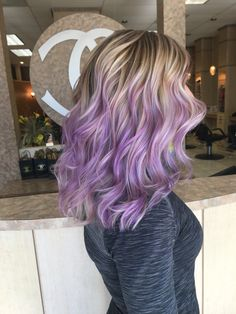Blonde hair titanium ash blonde pastel light purple lilac hand painted balayage highlights done by IG