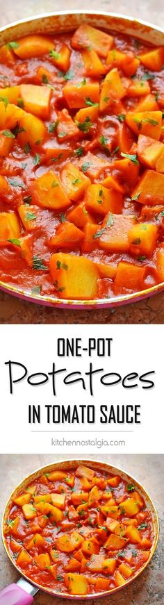 One-Pot 30-Minute Stovetop POTATOES IN TOMATO SAUCE - simple but delicious Mediterranean side dish - kitchennostalgia.com
