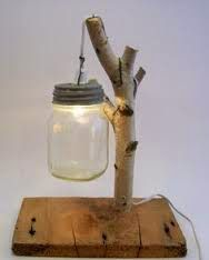 This is a white birch lamp with a light inside of a suspended mason jar. The reclaimed barn wood on this lamp is very unique. Diy Wooden Projects, Barn Wood Projects, Wooden Diy, Canning Jars, Mason Jar Crafts, Mason Jar Lamp, Luminaria Diy, Barn Wood Crafts, Mason Jar Lighting