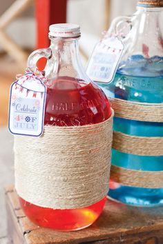 Red & Blue Kool-Aid for July 4th ~ Wrap twine around vintage jugs to give that sailor swagger ~ Red & blue Kool-Aid is perfect for all summer parties!