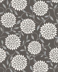 Flora : Black Wallpaper from Graham & Brown