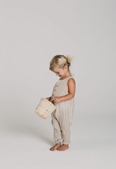 Cocoa Stripe Button Jumpsuit | Minou Kids