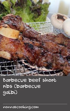 "Barbecue beef short ribs (barbecue galbi) | BBQ galbi or Korean BBQ beef short ribs is considered as ""the king of all Korean BBQs"". Galbi means ribs in Korean but generally implies beef short ribs. Koreans have devised an ingenious way of filleting the meat from the bone, creating a long thin strip of meat (with the bone still attached), that is perfect for quick cooking and grilling on a barbecue. Marinated with soy, garlic and sugar mixture, galbi is so tasty that everyone loves this… Quick Beef Recipes, Garlic Recipes, Rib Recipes, Barbecue Recipes, Grilling Recipes, Cooking Recipes, Bbq Beef Short Ribs, Soya Recipe, Ribs On Grill"