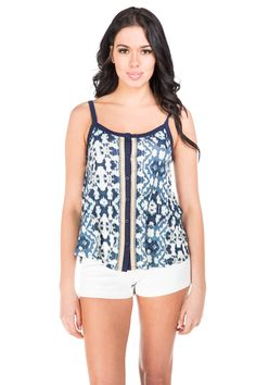 Aztec Button Down Spaghetti Strap Tank