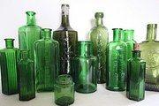 antique green glass bottles
