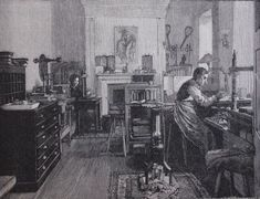The workshop of bookbinder T. J. Cobden-Sanderson. circa 1890, from the Illustrated London News, collection of Jeff Peachey