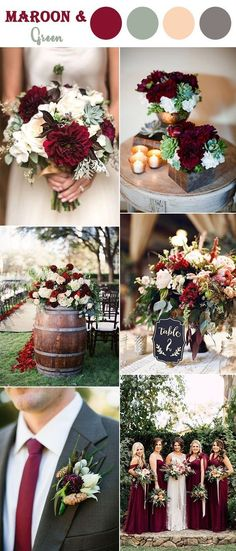 8 Perfect Fall Wedding Color Combos To Steal In 2017 : #5. Maroon red and soft green classic style