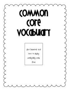 Common Core {Kindergarten Math Vocab list & cards}