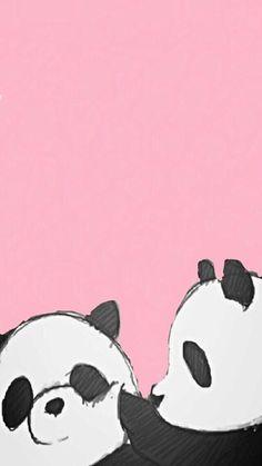 panda, wallpaper, and pink image Cute Panda Wallpaper, Kawaii Wallpaper, Pink Wallpaper, Cool Wallpaper, Wallpaper Backgrounds, Seagrass Wallpaper, Paintable Wallpaper, Colorful Wallpaper, Fabric Wallpaper