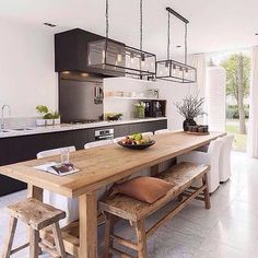 99 Functional and Modern Kitchen Island Design Ideas - Modern Kitchen Island, Kitchen Decor, House Interior, Home Kitchens, Dinning Table With Bench, Home, Interior, Kitchen Remodel, Home Decor