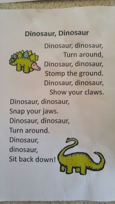 41 Ideas for music theme activities nursery rhymes 41 Ideas for music theme activities nursery rhyme Dinosaurs Preschool, Preschool Songs, Preschool Classroom, Preschool Learning, Fun Learning, Dinosaurs For Toddlers, Preschool Movement Songs, Poems For Kindergarten, Dinosaur Activities For Preschool