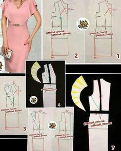 Photo by مزون حیاتی on December No hay ninguna descripción de la foto disponible. Dress Sewing Patterns, Sewing Patterns Free, Clothing Patterns, Pattern Drafting Tutorials, Sewing Tutorials, Sewing Clothes, Diy Clothes, Pattern Draping, Latest African Fashion Dresses