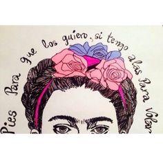 Imagen vía We Heart It https://weheartit.com/entry/142733359 #art #background #flowers #Frida #kahlo #pink #roses