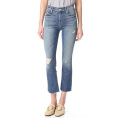 MOTHER The Insider Crop Fray Jeans ($248) ❤ liked on Polyvore featuring jeans, cuffed jeans, zipper jeans, cropped jeans, cropped flare jeans and blue jeans