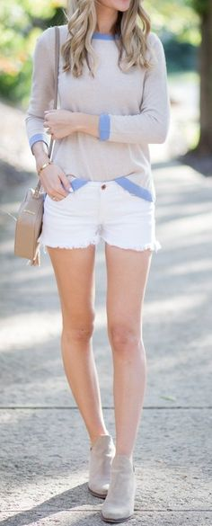 #fall #street #style | Blue Trimmed Sweater + White Shorts