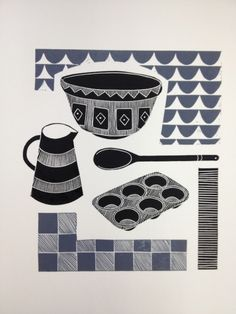 'Baking ( grey )' - lino print - Jan Brewerton