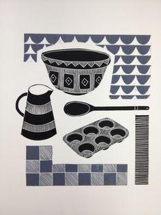 'Baking ( grey )' - lino print - Jan Brewerton