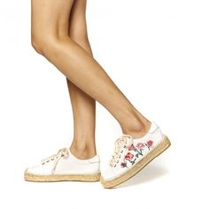 Rose Embroidered Platform Tennis Sneaker
