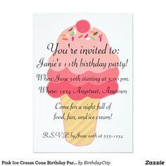 "Pink Ice Cream Cone Birthday Party Invitation 5"" X 7"" Invitation Card"
